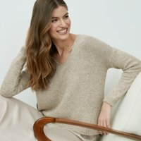 V-Neck Jumper, Flax, 4