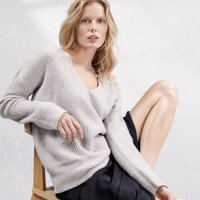 V-Neck Rib Detail Jumper with Cashmere, Pale Grey Marl, Extra Small