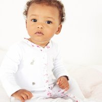 Velour Bunny Embroidered Sleepsuit, White, 18-24mths