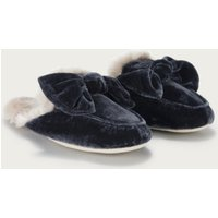 Velvet Bow Slider Slippers, Midnight, S(3/4)