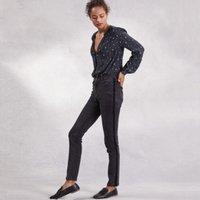Velvet Side Stripe Symons Jeans, Charcoal, 12