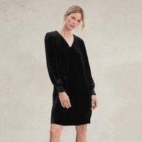 Velvet Smocked Dress with Silk, Black, 4