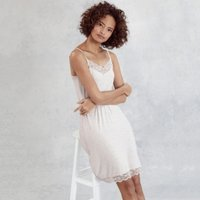 Velvet-Strap Lace-Trim Nightie , Cloud Marl, Extra Small