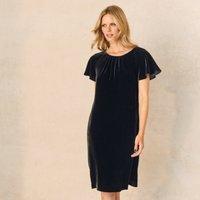Velvet Swing Dress with Silk, Black, 10