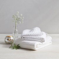 Lightweight Waffle Hook Towels, White, Bath Towel