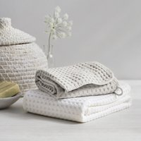 Lightweight Waffle Hook Towels, Pearl Grey, Bath Towel