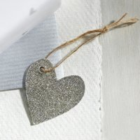 Sparkly Heart Present Topper - Set of 6, Silver, One Size