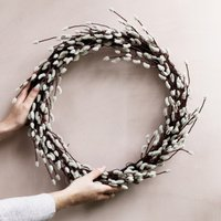 Pussy Willow Wreath, Natural, One Size