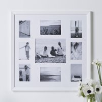 9 Aperture Fine Wood Photo Frame, White, One Size