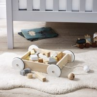 Wagon Toy with Blocks	, Natural, One Size