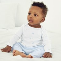 Whale & Stripe Pyjamas, White, 12-18mths
