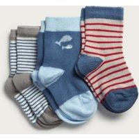 Whale Baby Socks - Set of 3, Multi, 0-6mths