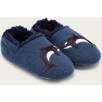 Whale Slippers, Blue, 3/4