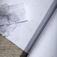 White, Silver Flitter Snowflake Wrapping Paper - 5m, White Silver, One Size