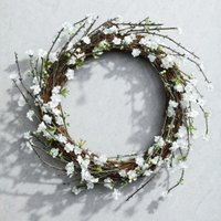 White Blossom Wreath, Natural, One Size