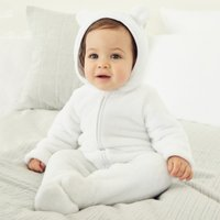 White Fleece Romper, White, 9-12mths