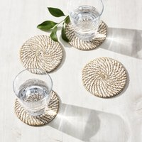Whitewashed Rattan Coasters - Set of 4, White, One Size