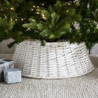 Wicker Christmas Tree Skirt, White, One Size