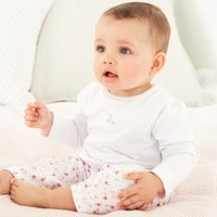Winter Bunny & Floral Pyjamas, White, 9-12mths