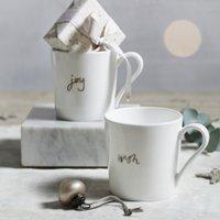 Wish & Joy Mugs – Set of 2, White, One Size