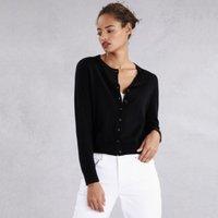 Wool-Cotton Sparkle Button Cardigan, Black, 16