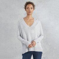 Wool-Cotton Star V-Neck Jumper , Pale Grey Marl, 4