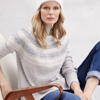 Wool Reverse Knit Fair Isle Jumper , Pale Grey Marl, 4