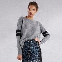Wool Sparkle Stripe Sleeve Jumper , Mid Grey Marl, 18