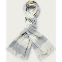 Wool Wide Stripe Long Scarf, Grey, One Size