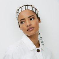 Zebra-Print Headscarf, Khaki, One Size