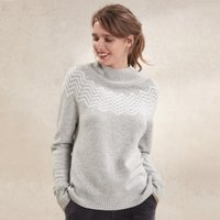 Zig-Zag Jumper with Cashmere , Pale Grey Marl, 16