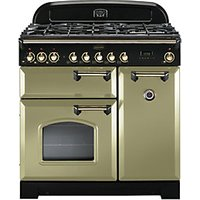Rangemaster Classic Deluxe 90 Dual Fuel Range Cooker - Cream with Brass Trim
