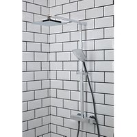 Bristan Quadrato Thermostatic Fixed Head Bar Shower Mixer with Diverter and Kit