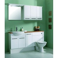 Wickes Seville White Bathroom Mirror and Light Canopy - 600mm