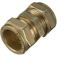 Wickes Brass Compression Straight Coupling - 22mm