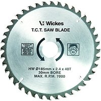 Wickes 40 Teeth Fine Cut Circular Saw Blade 185x30mm