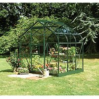 Halls Supreme Curved Greenhouse Aluminium Green 6 x 6