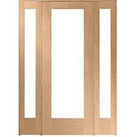 Wickes Oxford Fully Glazed Oak Internal Room Divider 762mm Door with 2 Demi Panels - 2017mm x 1468mm