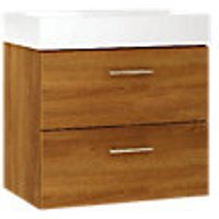 Wickes Talana Walnut Wall Hung Vanity Unit with Drawers - 600mm