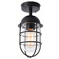 Zinc Kari Caged Black Porch Light   42W