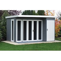 Shire 12 x 8 ft Aster Curved Roof Modern Bi-Fold Door Summerhouse with Assembly