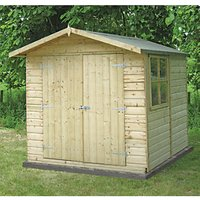 Shire 7 x 7 ft Modular Apex Double Door Timber Shed with Overhang