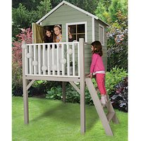 Forest Garden 4 x 4 ft Sage Tower Wooden Elevated Childrens Playhouse with Balcony and Stable Door