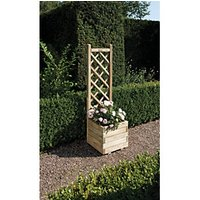Rowlinson Pressure Treated Square Planter with Lattice - 400