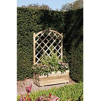 Rowlinson Pressure Treated Rectangular Planter with Lattice