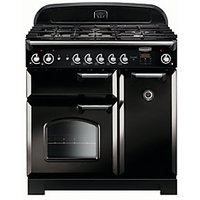 Rangemaster Classic 90 Natural Gas Range Cooker - Black with Chrome Trim