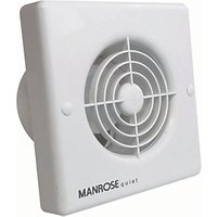 Manrose Quiet Bathroom Fan with Timer 100mm White QF100T