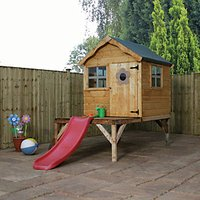 Mercia Timber Snug Playhouse with Tower and Slide - 10 x 5 ft