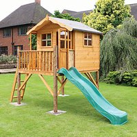 Mercia 12 x 5 ft Wooden Poppy Playhouse with Tower and Slide with Assembly