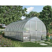 Palram 8 x 20 ft Bella Silver Extra Long Aluminium Bell Shaped Greenhouse with Polycarbonate Panels